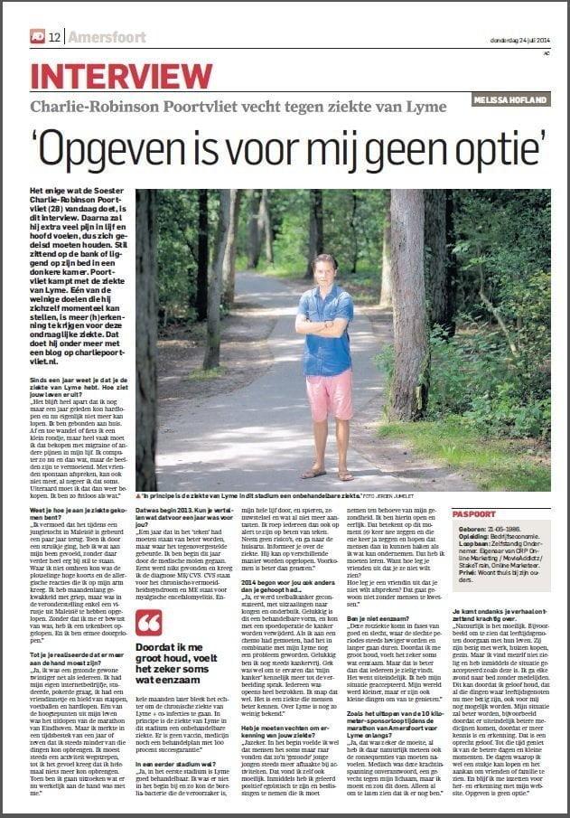 Interview voor de AD Amersfoortse Courant
