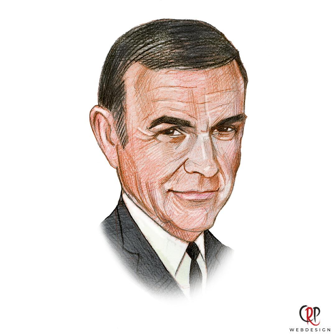 Portrettekening van Sean Connery