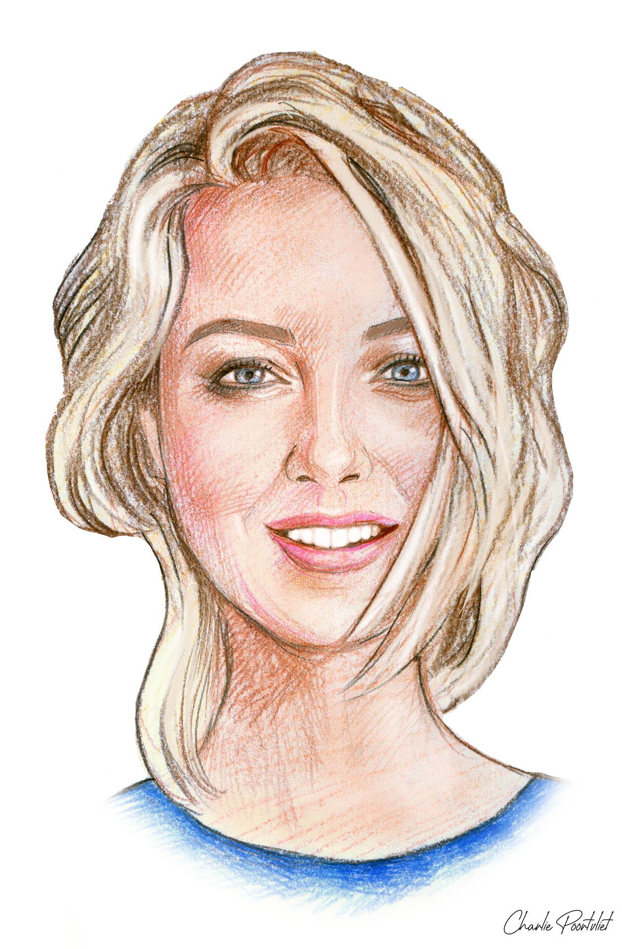 Portrettekening van Nicolette van Dam