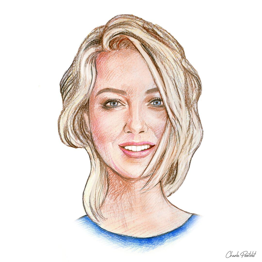 Portrettekening van Tess Milne