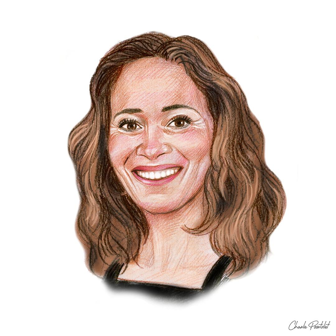 Portrettekening van Bibian Mentel